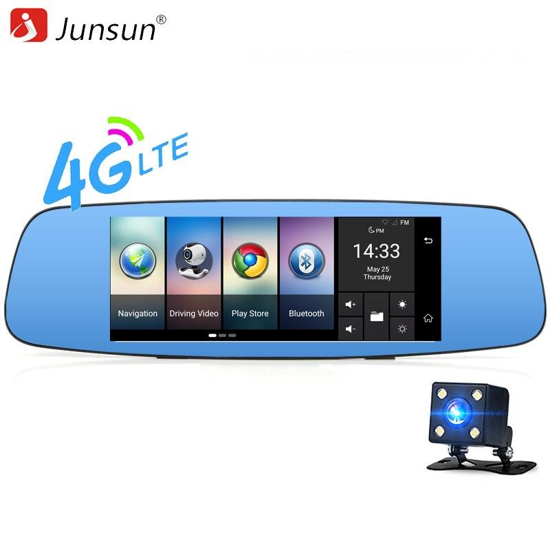 Junsun 4G Car Camera DVR 7 Mirror font b GPS b font Wifi Bluetooth Dual Lens