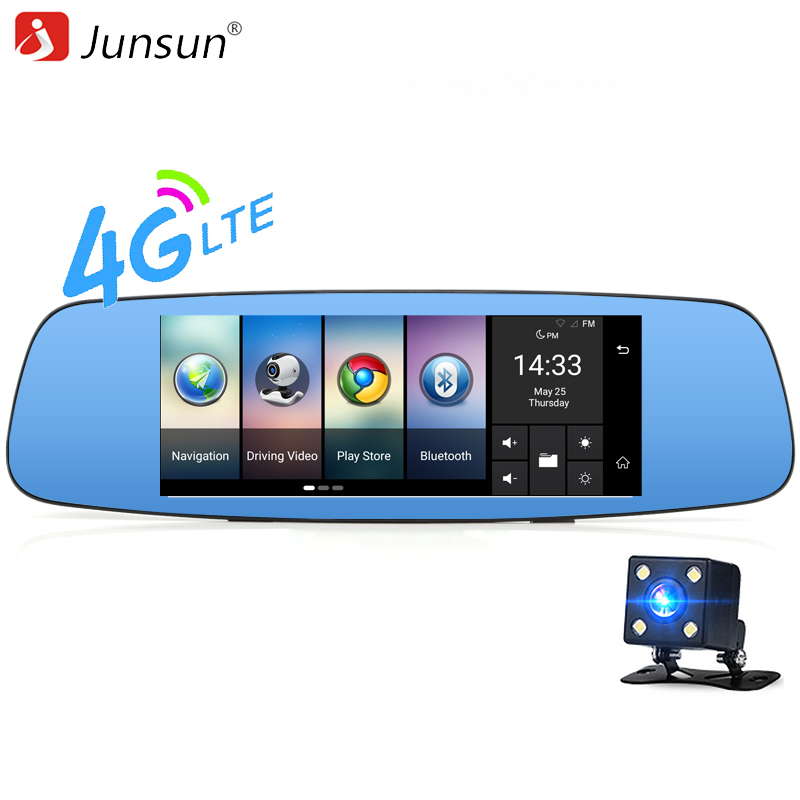 Junsun 4G Car font b Camera b font DVR 7 Mirror GPS Wifi Bluetooth Dual Lens