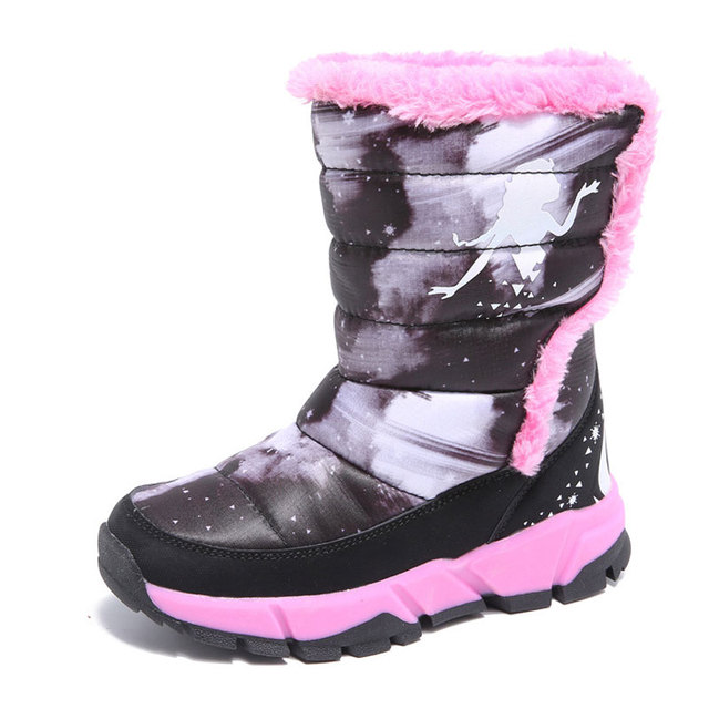 2ea5898d1e861 New Girls Painting Winter Boots 3 Colors Kids Plush Anti-skid Snow Boots  Casual Thermal Shoes Fashion Outdoor Botas Size 28-39