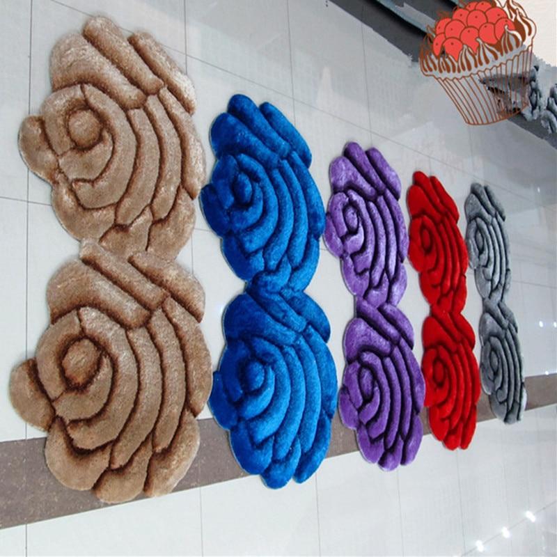 Nouveau tapis créatif en forme de fleur Europe 3D Double Rose tapis pour décorer salon chambre délicate tapis doux personnel - 3
