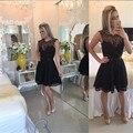 Glamorous Black Lace Short Homecoming Dresses Simple Sleeveless Scoop Short Cocktail Dress Cheap Black Knee Length Prom Dress