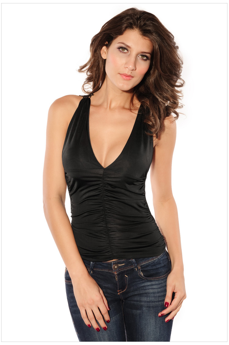 New arrival Crop top deep V neck T-shirts sexy women nylon lace camisetas Sleeveless female t shirt rock clothes