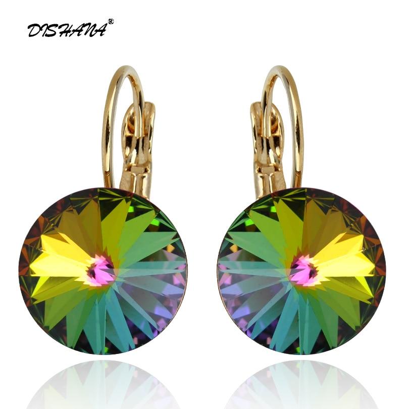 Novo design de moda de luxo de ouro-cor brincos de cristal austríaco jóias de casamento de zircão para mulheres brinco jóias femme e0097-1