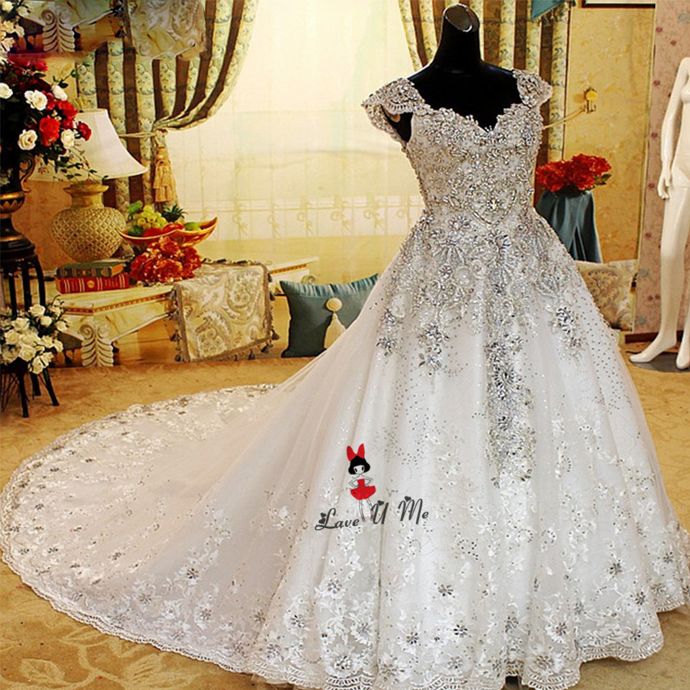 Vestido de Noiva Gelinlik Lace Luxury Wedding Dresses Rhinestones ...