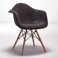Set Of 2 Modern Style Upholstered Armchair Dining Chair Natural Wood Leg Dining Room Chair Furniture