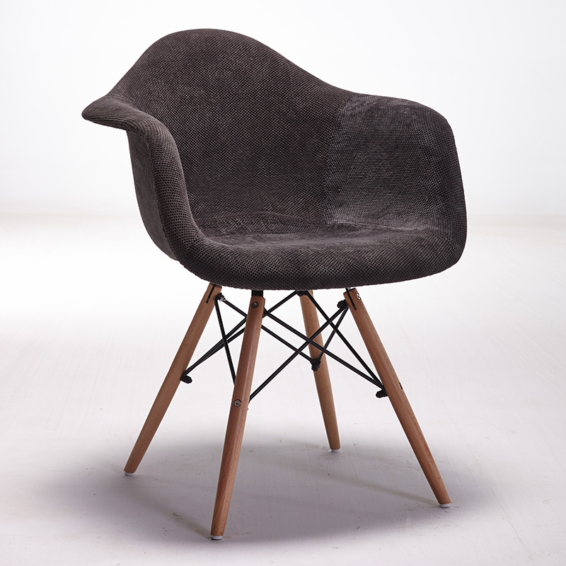 Set of modern style upholstered armchair dining chair