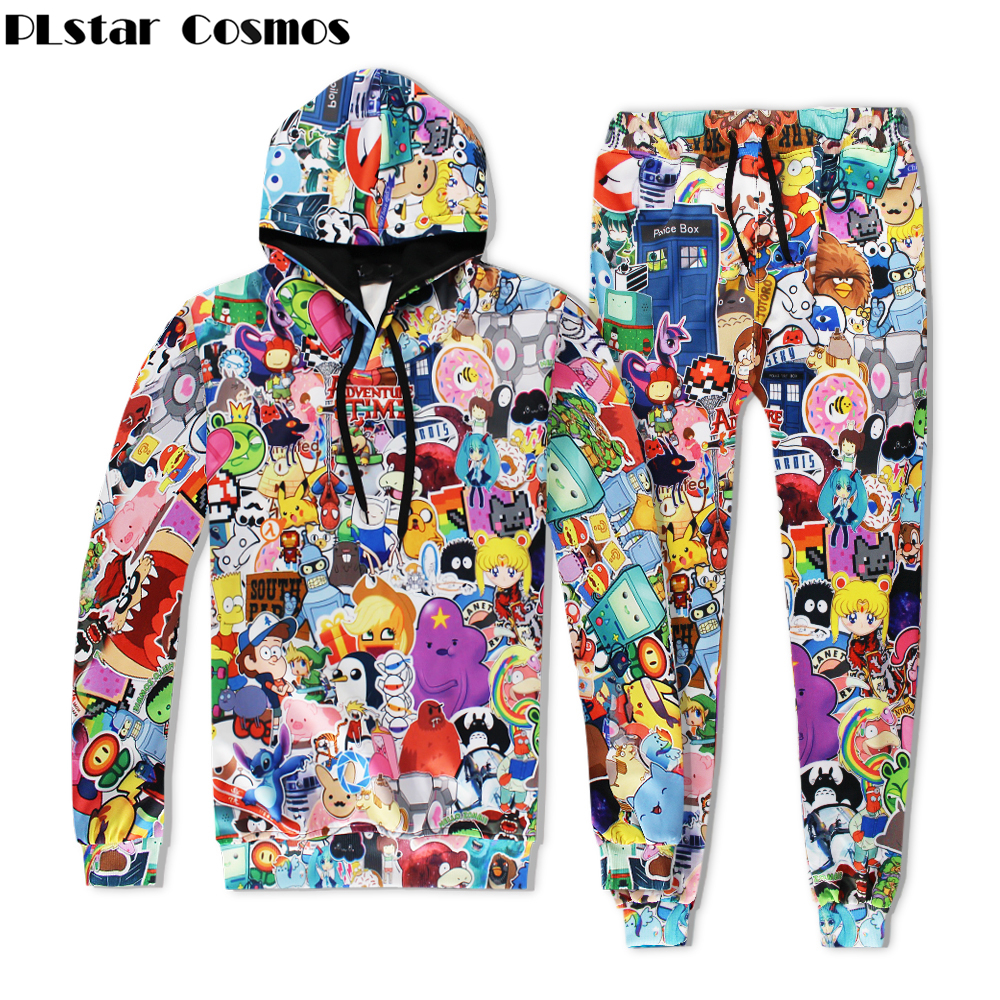 PLstar Cosmos 2018 New Fashion Men/Women Hoodies Classic Cartoon Adventure Time 3d Print Casual Hoodie Sweatshirt+pants Set