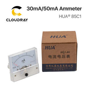 Image 5 - Cloudray 30mA 50mA Ammeter HUA 85C1 DC 0 30mA 0 50mA Analog Amp Panel Meter Current for CO2 Laser Engraving Cutting Machine