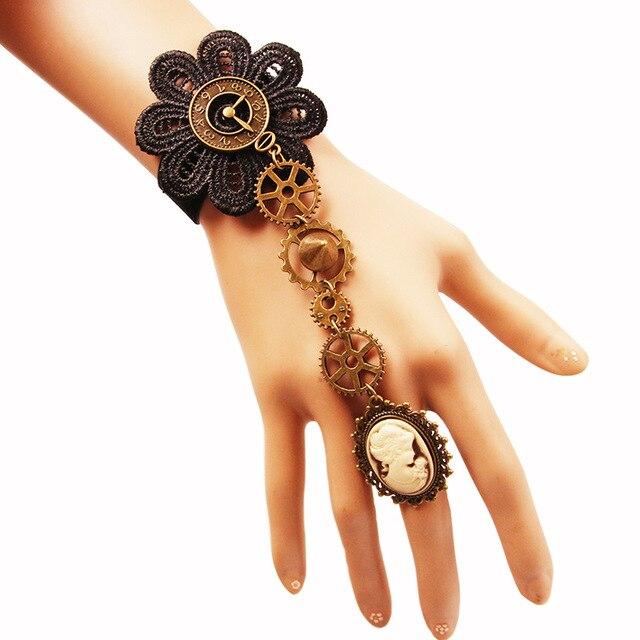 Steampunk S Bracelet Gear Spike Lace Cuff Victorian Cameo Bracelets Handmade