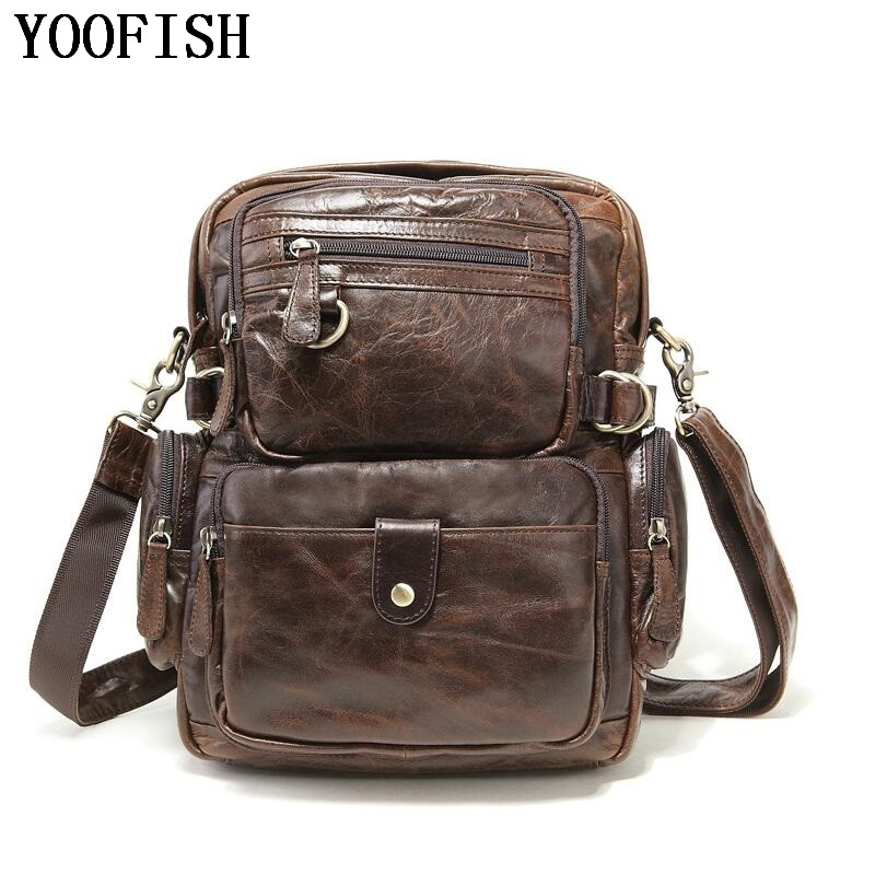 YOOFISH 100% Genuine Leather Men Messenger Bag Casual Crossbody Bag Business Men's Handbag Bags for gift Shoulder Bags Men brand 100% genuine leather men messenger bag casual crossbody bag business men s handbag bags for gift shoulder bags men li 1747