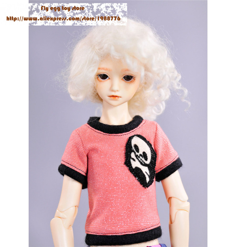 Cute doll Tops shirt for 1 4 male and female doll PINK Skull pattern sd bjd