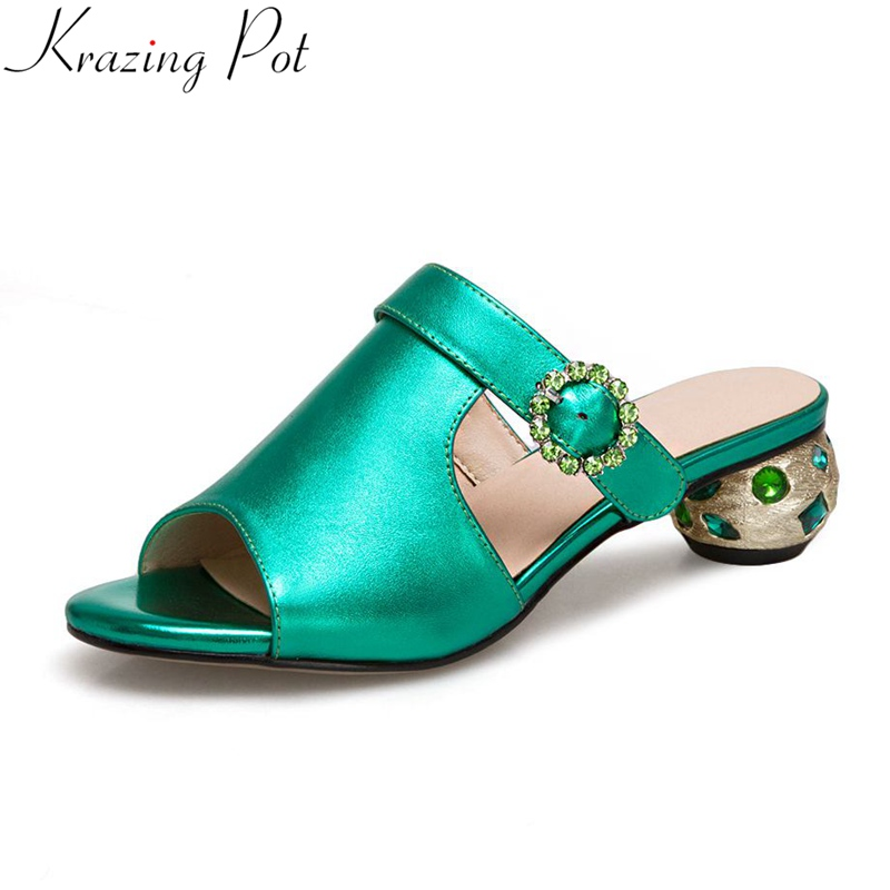 Krazing Pot 2018 office lady big size genuine leather slingback mules crystal med heels women sandals peep toe runway shoes L58 krazing pot 2018 new arrival sheep suede thick med heels women hollow decoration pumps buckle poined toe model runway mules l61