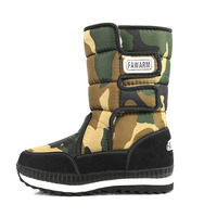 Baby Boys Snow Boots Kids Children Shoes Ankle Length Camouflage Warm Fur Plush Waterproof Snow Boots