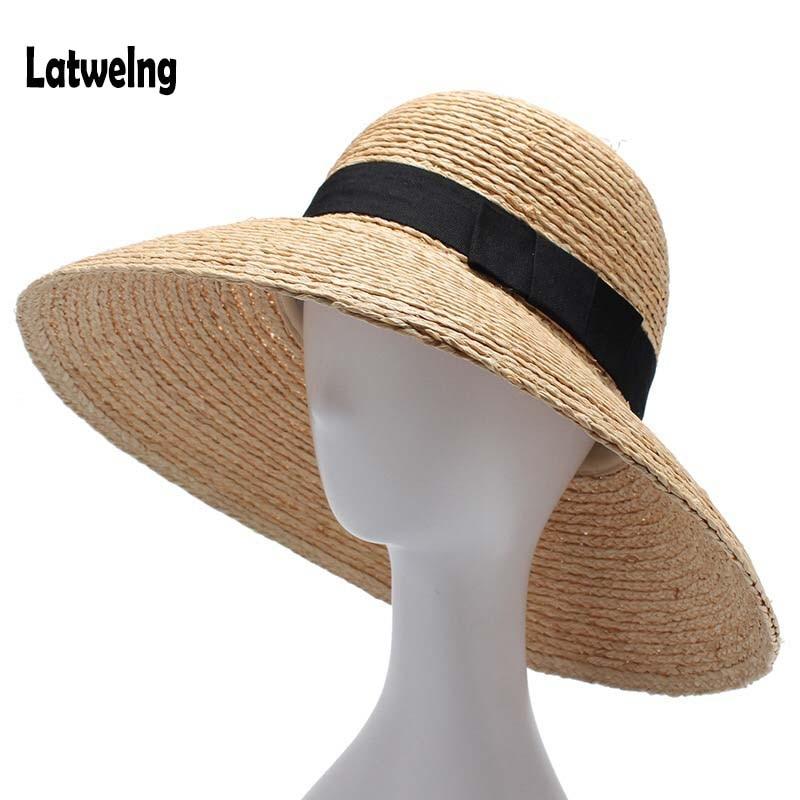 3fa2c11cd864d 2018 Nova Mulheres De Ráfia Palha Chapéus de Sol de Verão Para Senhoras  Chapéu de Praia Moda Artesanal Grande Balde Aba Larga Viseira Caps presente