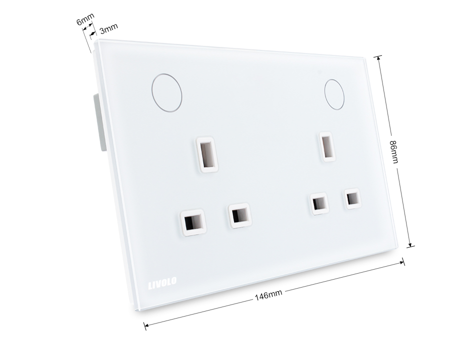 Livolo Uk Standard Wall Power Plug Sockets White Crystal Panel 2