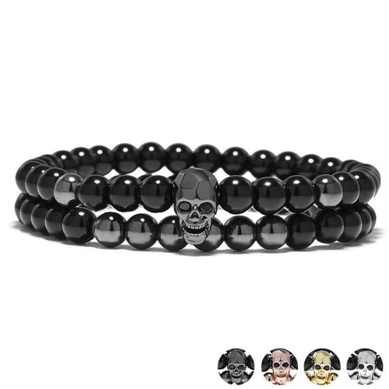 DIEZI One Sets 6mm negro energía Yoga calavera encanto pulsera para hombres mujeres piedras naturales budista hebra pulseras joyería