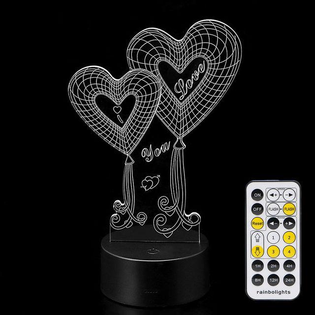 7 Que Cambia de Color 3D de Acrílico de La Lámpara USB Regalo de Navidad Decoración de Navidad Noche de Luz LED con Control Remoto