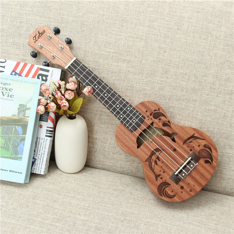 High Quality 21 Inch Sapele Dolphin Pattern Ukulele Hawaii Mini Guitar 4 Strings Uke Brown Rosewood Instrument Ukelele Gift syds good deal 17 mini ukelele ukulele spruce sapele top rosewood fretboard stringed instrument 4 strings with gig bag 2