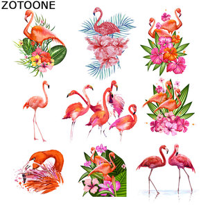 ZOTOONE Iron on Patches for Clothes Heat Transfer Pink Flamingo Patch washingl T-Shirt Stickers for Clothes Accessory Applique C