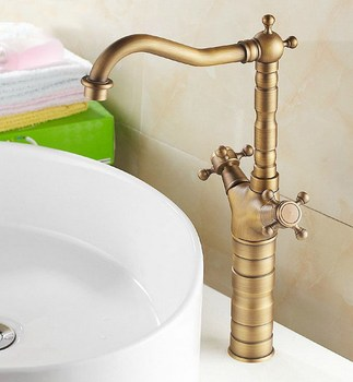 Antique Brass Dual Cross Handles Swivel Kitchen Bathroom Sink Basin Faucet Mixer Taps anf103 wholesale and retail antique brass bathroom mixer taps two handles one hole faucet