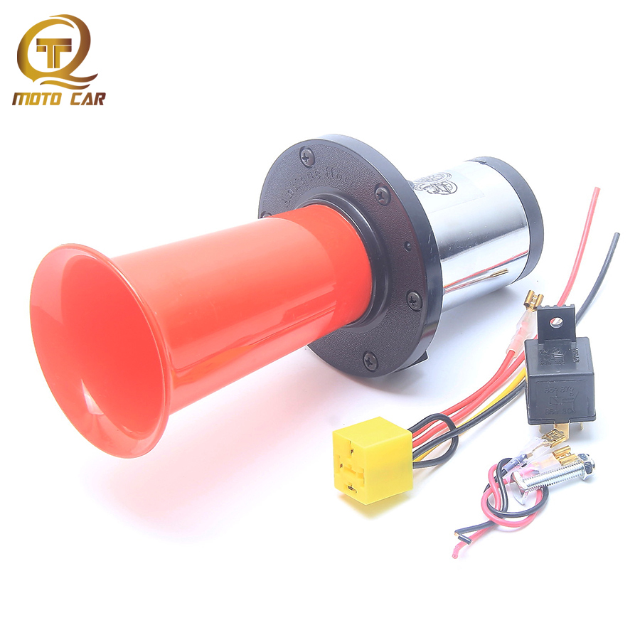 Antique Vintage Old Horn Loud Sound Siren DC12V 110DB Red Horn Air Compressor Universal for Motorcycle Car Truck Relay Socket