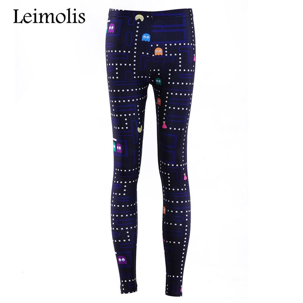 Leimolis 3D printed fitness push up workout   leggings   women gothic Pacman FC game plus size High Waist punk rock pants