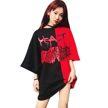 Chic Korean Style Hip Hop Printed Couple T Shirt Summer Short Sleeve O-Neck Casual Long Loose Tops Tshirt Women 2019 New Arrival