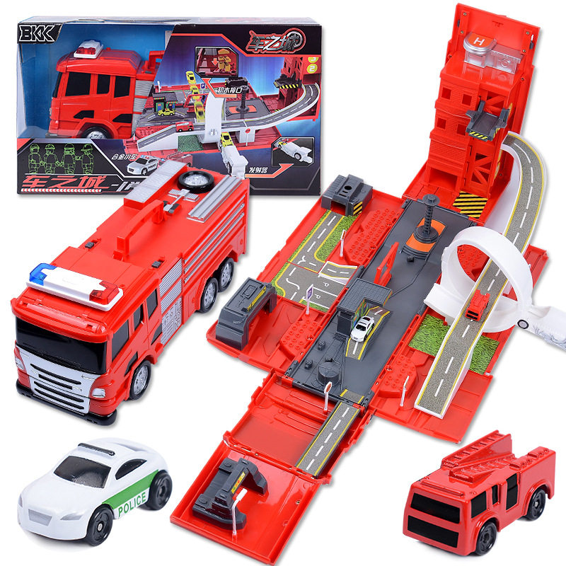 Finger Rock 1:24 DIY Deformation Fire Engine Diecast Toy Vehicles Model Deformation Alloy Track Car Scene Toys For Children Gift