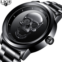 2018 LIGE Top Brand Cool Punk Style Pirate Skeleton Skull Quartz Mens Watches Full Tteel Sports