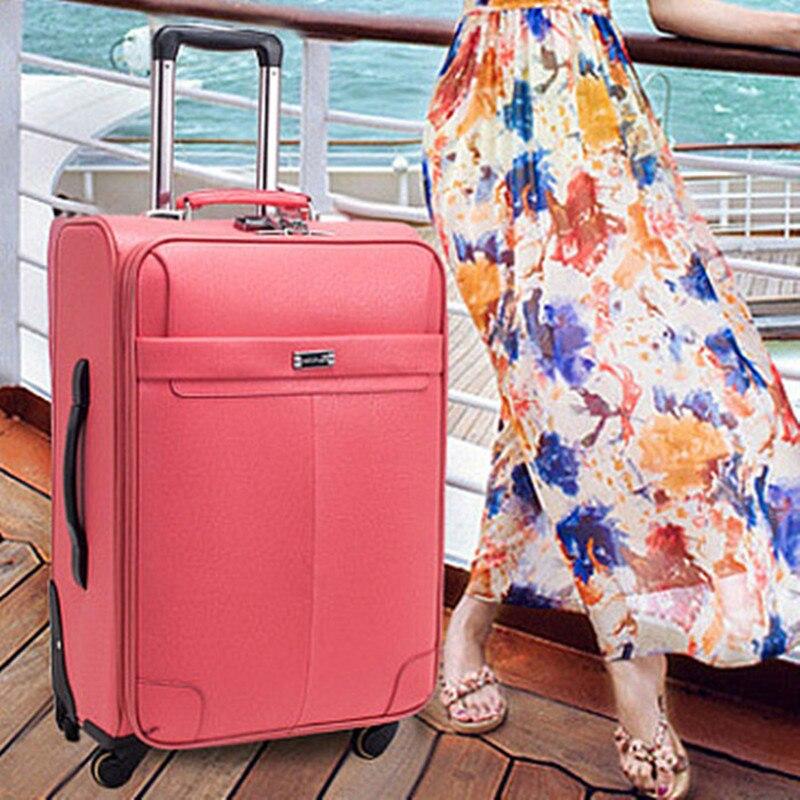 Letrend Модные Цвет ABS сумки на колёсиках Spinner Женская тележка чемодан колёса 20/24 дюймов вести дорожная сумка Hardside багажник - 6