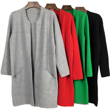 2017 New Arrival Autumn Winter O-neck Female Knitted Sweater Women Long Cardigan Coat Casual Loose Outwear Red Green