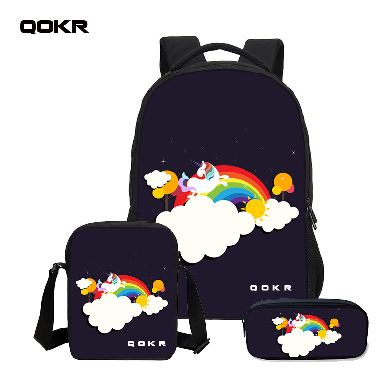 QOKR Children Backpack Boys New 3D Unicorn Printing Backpack School Bag Cool Cartoon Bookbag 3 PCS/SET crossbody and pencil bags ...
