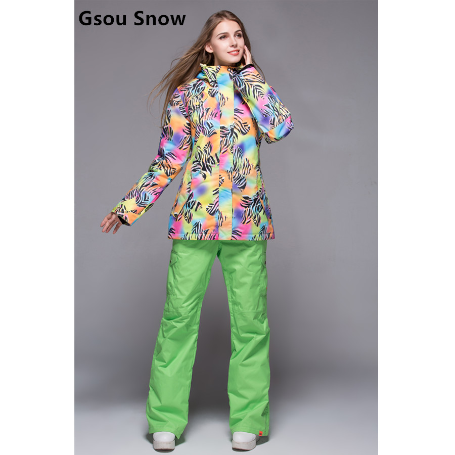 Gsou snow womens zebra ski suit women s skiing clothing gradient color  series female zebra jacket and green ski pants waterproof a7e632b6b