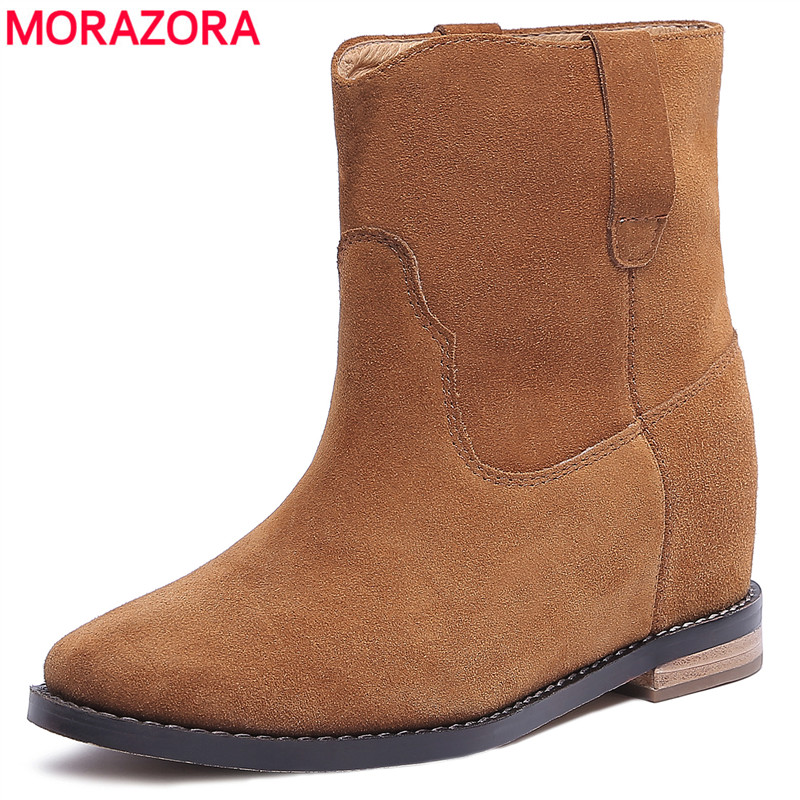 MORAZORA Europe hot sale genuine leather boots spring autumn slip on Western boots ladies fashion ankle boots for women shoes martine women ankle boots flat with chelsea boots for ladies spring and autumn female suede leather slip on fashion boots