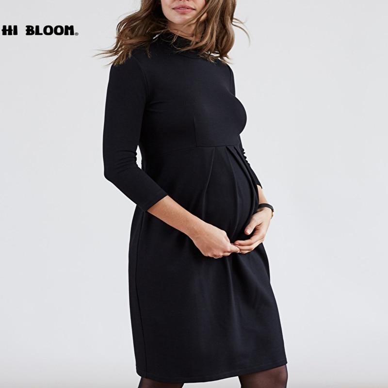 bd2829af0 Primavera otoño cuello Vestidos de maternidad embarazo casuales de mujer  embarazada
