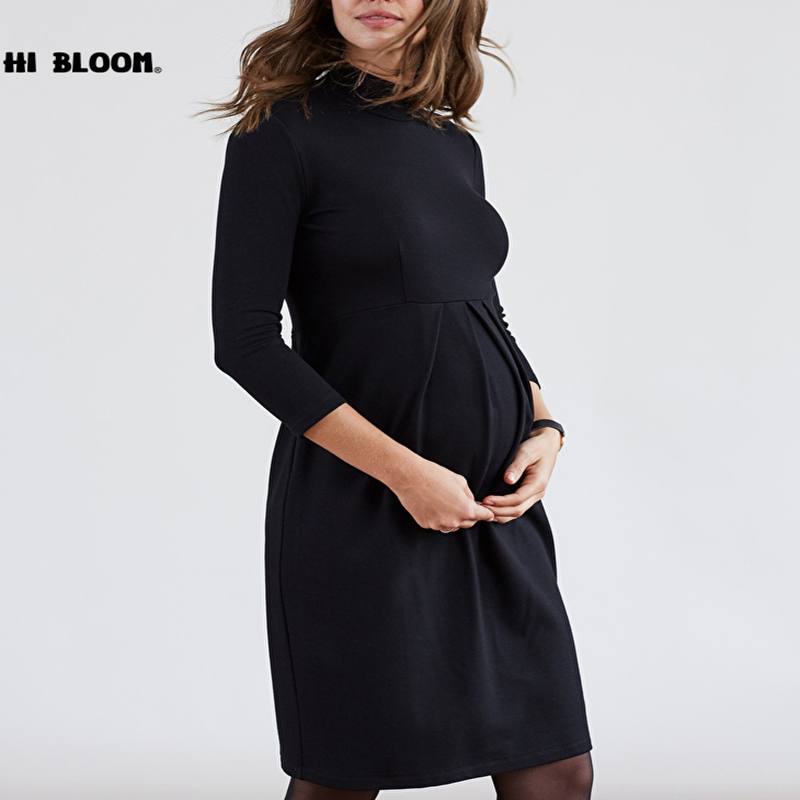 Spring Autumn Turtleneck Maternity Dresses for Pregnancy Women Casual Pregnant Dress Maternity Clothes Vestidos Size S-3XL