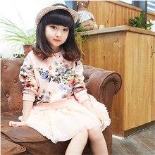 Девушки Новая Зимняя Одежда Корейская Принцесса Хлопок Печати Платье Детская Одежда