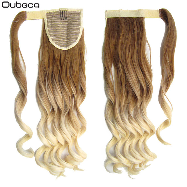 Oubeca Wrap Around Wave Ombre Ponytail Extensions Synthetic Wavy Pony Tail Two Tone Hairpiece Clip In Hair Extensions For Women