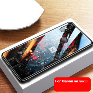 Aixuan Glass Case For Xiaomi Mi Mix 3 Xiaomi Mix 3 Mix3 Case painted Tempered Glass Silicon Protective full Cover Cases|Fitted Cases| |  -