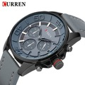 2016 new Curren brand design genuine leather military men cool fashion clock sport male gift wrist quartz business watch 8187