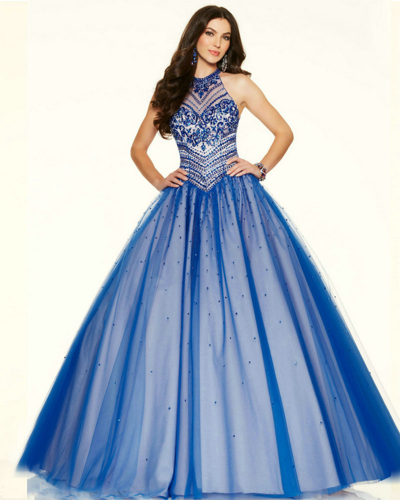 Style 98042 Long Blue Prom Dress Ball