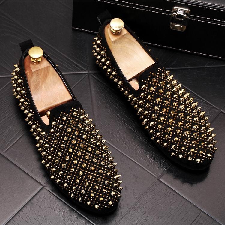 ouro Da Conforto Apartamentos Errfc Prevista Novos Chegada Preto Loafer Dourado Causal Rebites Ouro Tendência Respirável Sapatos Barco Moda Homem Homens Britânico Em Deslizamento q1wFw0Ex4