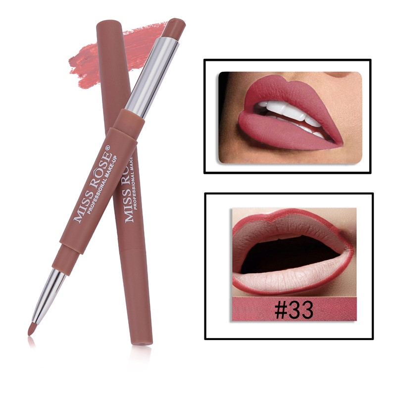 33 8 Color Double-end Lip Makeup Lipstick Pencil Waterproof Long Lasting Tint Sexy Red Lip Stick Beauty Matte Liner Pen Lipstick