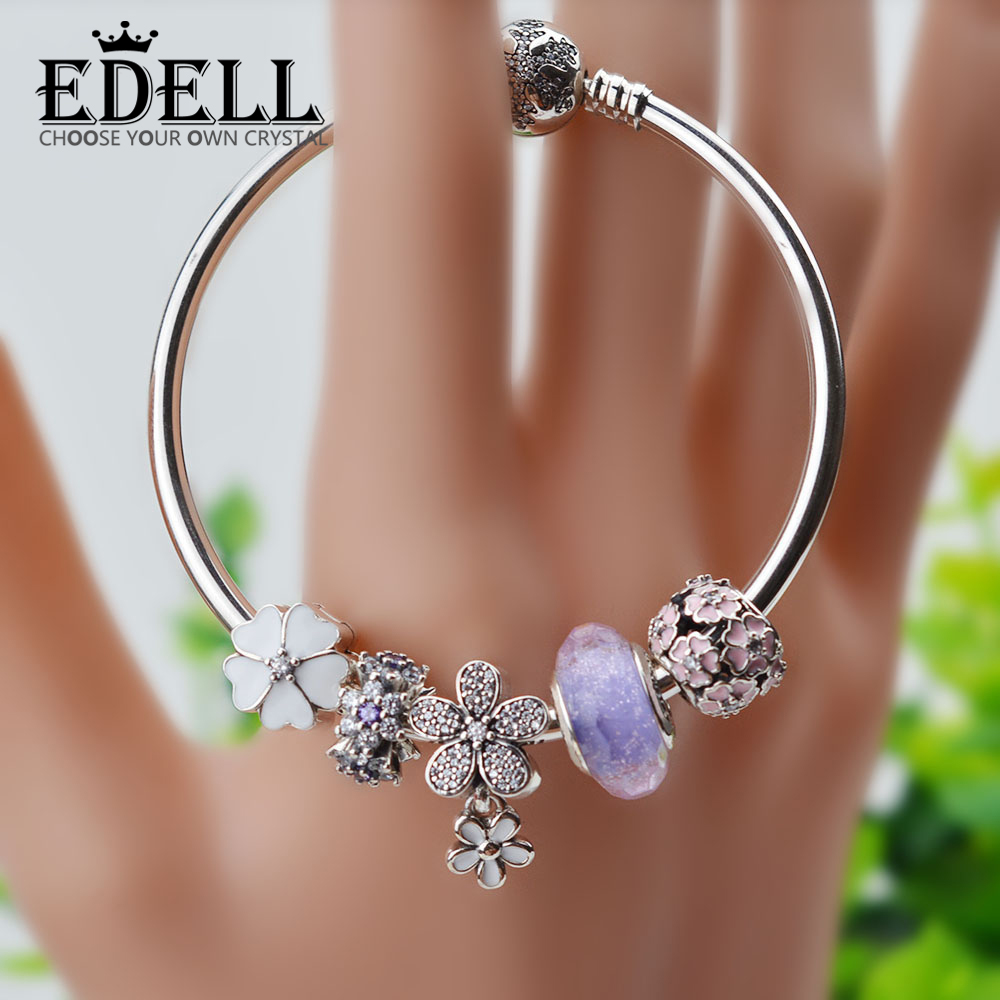 EDELL Silver Original Charm Bracelet with Flower Enamel Beads Antique Silver girl Glass Bracelet & Bangle Fit Women JewelryEDELL Silver Original Charm Bracelet with Flower Enamel Beads Antique Silver girl Glass Bracelet & Bangle Fit Women Jewelry