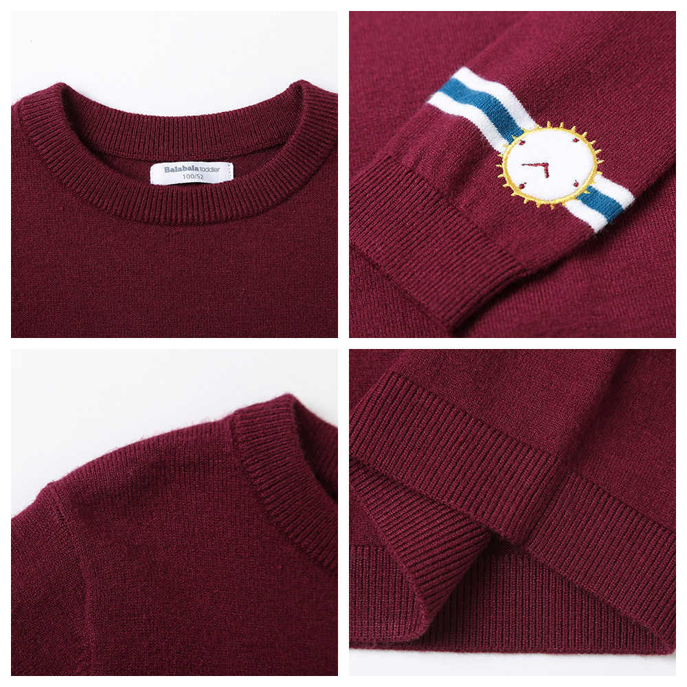 Balabala Toddler Boy Pullover Sweater Ribbed Knit Sweater with Fake Watch Applique at Cuff Children Kids Boy Winter Tops Clothes