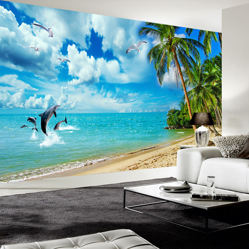 Custom Photo Wall Paper 3D Stereoscopic Blue Sky White Clouds Seaside Scenery Dolphin Seagull Coconut Tree Beach Mural Wallpaper blue sky чаша северный олень