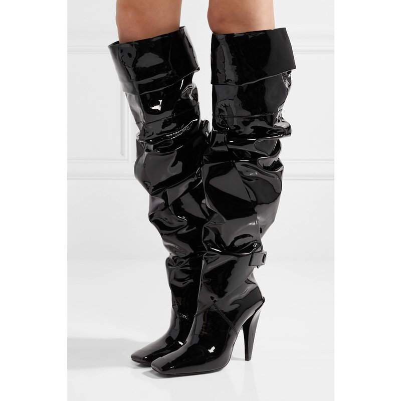 2018 Winter New Products Long Knee Helmet with patent leather square head buckle boots thigh boots sexy large size shoes