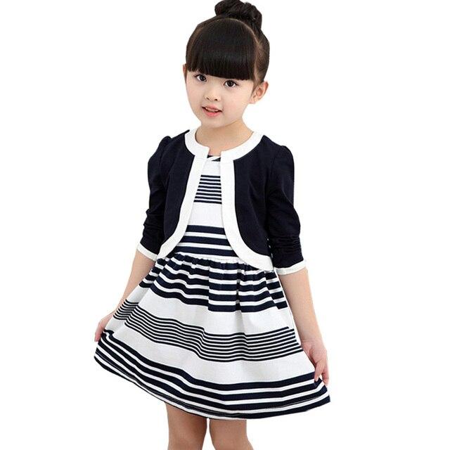 Retail 2017 new arrivals autumn children girls coat+dress 2pcs fashion cotton striped princess sets height 110-140cm