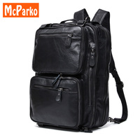 Натуральная кожа рюкзак Для мужчин путешествия рюкзак многоцелевой Для мужчин сумки Высокое качество Винтаж 15 дюймов ноутбук рюкзак blackk ко