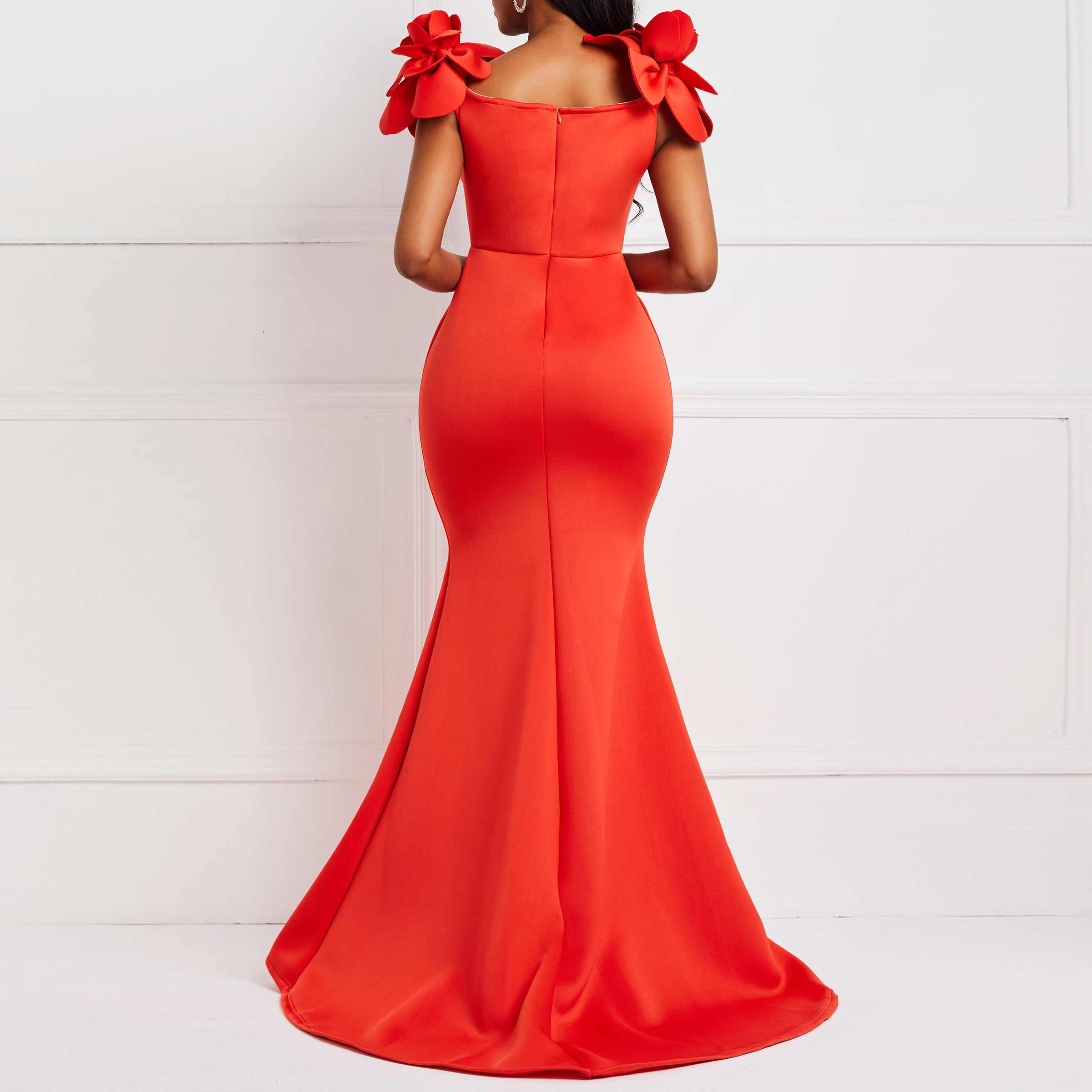 Clocolor femmes robe Sexy dames rétro sirène Maxi robe fleur été élégant élégant grande taille moulante rouge longue robes de soirée